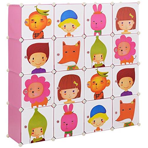 (Neu.haus) Etagère enfant bricolage avec 16 compartiments à motifs roses, transparente (145x145cm) étagère de montage en matière plastique