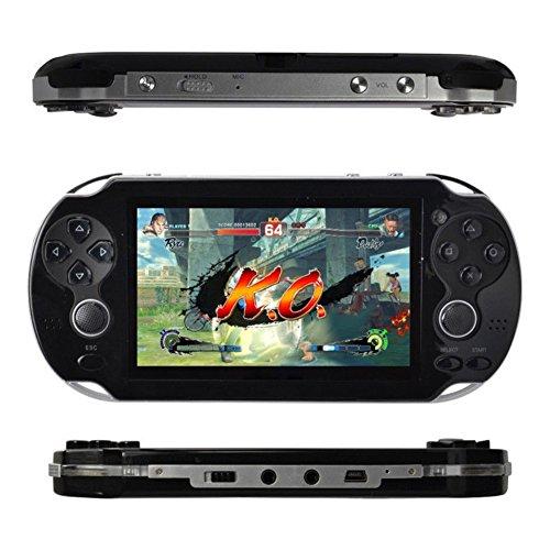 Kasit 4,3 pouces console portable, 8 Go avec plus de 100 jeux, lecteur MP4 et MP5, avec double joystick, caméra, style rétro, un cadeau parfait pour les enfants.