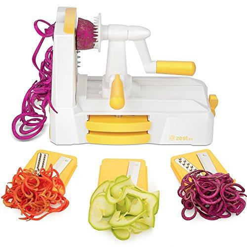 Coupe-légumes spirale Zestkit avec manivelle à 3 lames, Spiraliseur Vege, brosse de nettoyage incluse, blanc et jaune