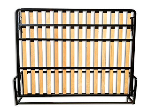 Lit Double Pliant Horizontal 150 x 200 cm (lit double Murphy, lit pliable, canapé-lit, canapé-lit, meuble de lit caché).