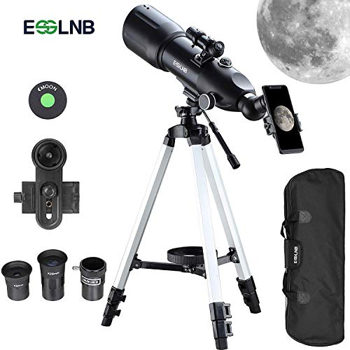 ESSLNB Télescope Astronomique Professionnel pour Adultes ou Enfants Débutants avec Objectif 80mm avec Adaptateur Téléphonique 10X Trépied Ajustable Trépied 3X Barlow Lens