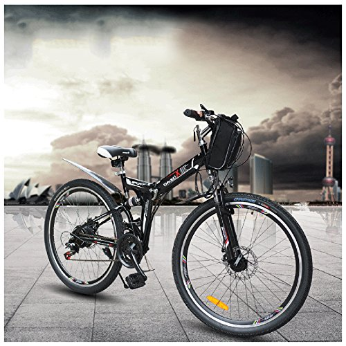 GTYW Vélo électrique pliable Vélo électrique VTT électrique Mâle électrique 350W 48V * 26 'Double Suspension Bobon Bahrain Double Batterie de frein, Noir-48V12.8ah