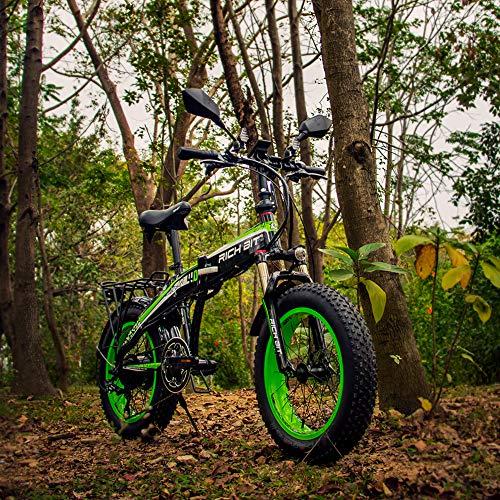 RICH BIT 500W 48V 48V 20 * 4.0 pouces Fat e-Bike Vélo électrique RT-016 Fourche à neige pliable Suspension avant Shimano 7 vitesses Frein mécanique à disque 155-180cm (vert)