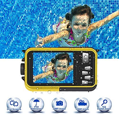 Caméra étanche 24.0MP HD 1080P 3.0 mètres Caméra étanche étanche pour plongée sous-marine Caméra photo étanche étanche 2.7 pouces double écran TFT-LCD, jaune