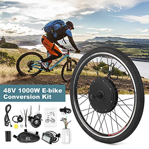 Festnight Electric Bicycle Conversion Kit de conversion de vélo électrique Roue arrière Kit de moteur de roue arrière de vélo 48V 1000W puissant E-Bike LCD Screen Motor Kit Kit moteur sans balais Contrôleur Pas Signal Light