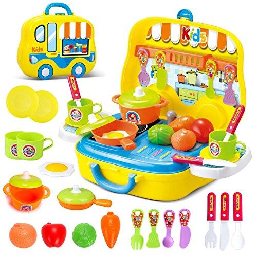 deAO - Cuisine de jeu avec étui de transport et accessoires (couleur jaune)