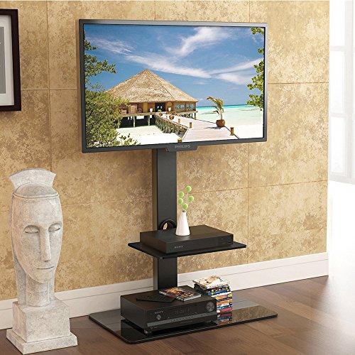 FITUEYES Support de plancher tournant avec 2 étagères pour TV LCD LED OLED Plasma plat courbé 32-65 pouces TT207001MB